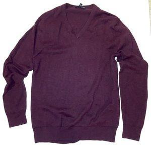 Sweater   Men's V-neck Eggplant Soft Sweater